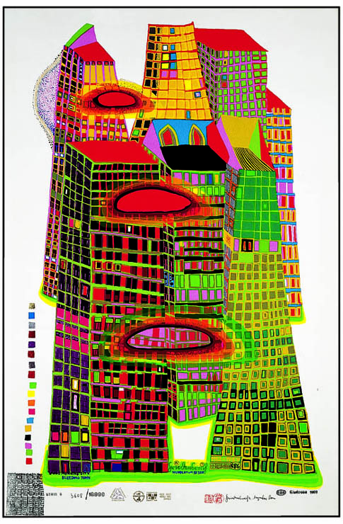 Hundertwasser 686 GOOD MORNING CITY, Silk screen, 1970 © 2014 Namida AG, Glarus, Switzerland