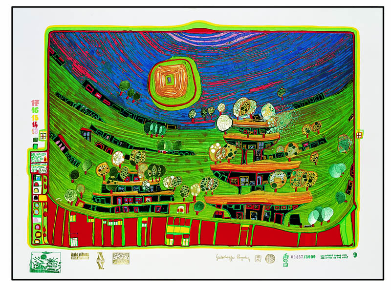 Hundertwasser 699 A THE HOUSES ARE HANGING UNDERNEATH THE MEADOWS, Silk screen, 1972 © 2014 Namida AG, Glarus, Switzerland